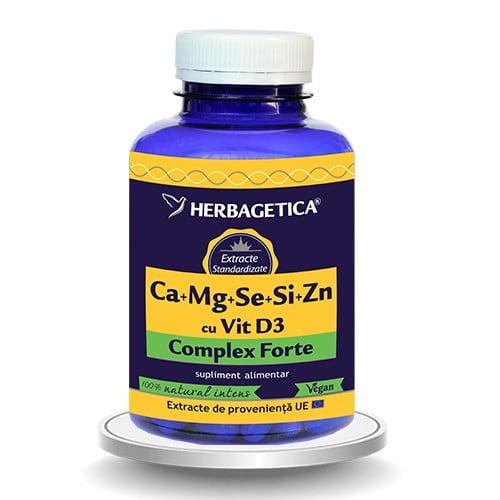 Complex Forte (Ca+Mg+Se+Si+Zn) Cu Vitamina D3 2000UI 120cps HERBAGETICA