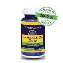Complex Forte (Ca+Mg+Se+Si+Zn) cu Vitamina D3 2000UI Herbagetica 60cps