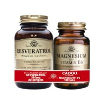 Pachet Resveratrol 250mg (cu extract de vin rosu) + Magnesium cu B6 Solgar 30cps+100tb Gratis