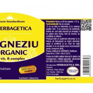 Magneziu Organic cu Vitamina B Complex Herbagetica 30cps